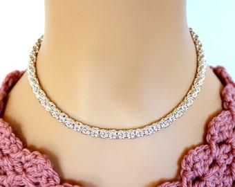 Sterling Silver Byzantine Necklace, Sterling Silver Woven Necklace, Sterling Silver Link Necklace, Sterling Silver Necklace, Byzantine