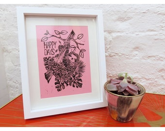 Framed Sloth Lino Print 'Happy Days' Pink (Available in other colours)