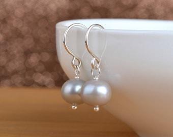 Gray Pearl Earrings, Pearl Drop Earrings, Freshwater Pearl, June Birthstone Wedding Jewelry, 14K Gold Filled, Rose Gold, Sterling Silver