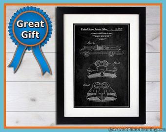 Batmobile Patent Poster Print Adam West Batman Original Bat-mobile blueprint wall art great Fathers Day gift for him Batman Geek Home Decor