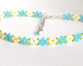"Seed Bead Anklet, Ankle Bracelet, Blue Wedding Anklet, Garden Wedding, Daisy Chain Anklet, Anklets for Women, Boho Anklet, 7"" to 11"""
