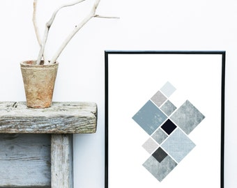 Blue Geometric Print, Scandinavian Art, Geometric Art, Printable Art, Modern Art, Home Decor, Wall Decor, Wall Art, Digital Download