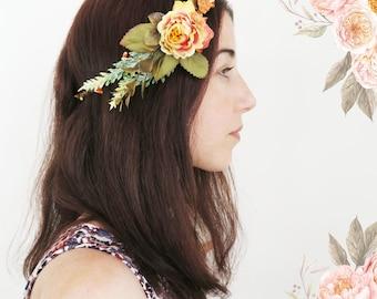 Boho flower crown, whimsical halo, wild flowers halo, woodland wreath, wedding halo, floral crown, bridal wreath, baby's birthday halo.