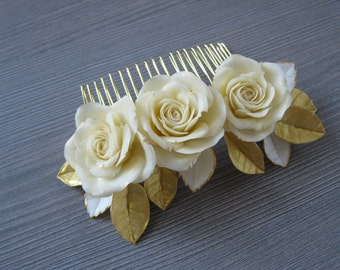 Ivory wedding hair comb Wedding Rose gold hair comb Rose hair comb Bridal hair comb Rose gold hair accessories Gold hair piece Bridal comb