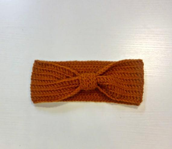Bow ear warmer in pumpkin orange