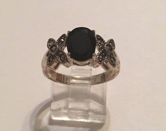 Sterling Silver 925 Black Onyx Marcasite Ring