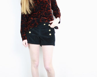 French Vintage 1990s Velvet Sweater / Black & Red Print Velour Long Sleeve Top Soft Grunge Abstract Snake Pattern / Size S M L