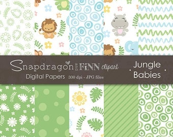 Baby Animal Digital Papers, Jungle Animal Digital Papers, Jungle Digital Papers, Baby Digital Papers, Commercial License Included