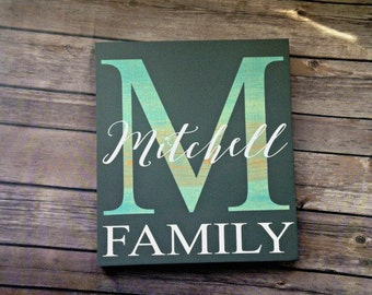 Family Name Sign, Family Monogram Sign, Custom Wedding Gift, Custom Name Sign, Last Name Sign, Gift for Her, Housewarming Gift, Mothers Day