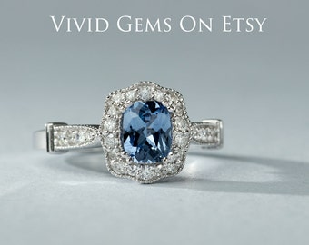 Blue Sapphire Engagement Ring, Cushion cut Sapphire and Diamond Engagement Ring, solid 14k white gold