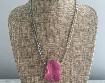 Chunky Pink Agate Pendent with Fire Polished Glass Bead Necklace, Double Strand