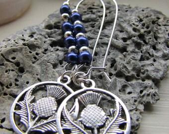 Scottish thistle earrings , Kidney wire earrings , Silver and purple earrings , Tibetan silver charm earrings , Gifts for her