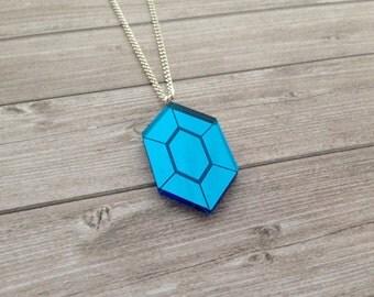 Zelda blue rupee necklace - The Legend of Zelda, Nintendo, Breath of the Wild, geek, cute, japanese, Link, Ganondorf, lasercut acrylic