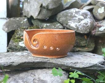 Orange Speckled VERTIGO Yarn Bowl~Knitting Bowl~ Handmade in Studio ~ Ready to ship !!!