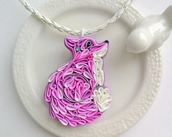 Purple fox pendant with Swarovski, Fox jewelry, polymer clay Fox, cute Fox necklace, quilled Fox