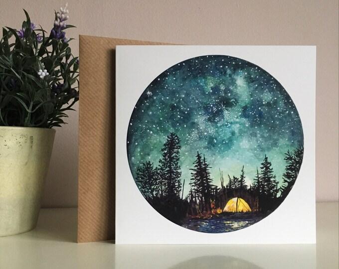 Camping At Night Card