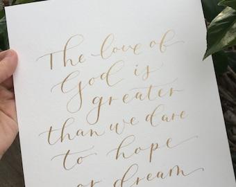 CUSTOM CALLIGRAPHY QUOTE, Modern Calligraphy, Watercolor, Calligraphy Art, 5x7, 8x10, 11x14