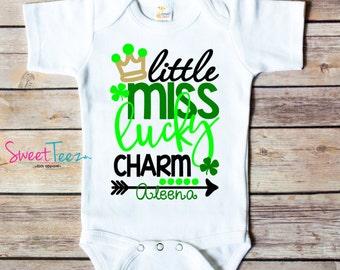 Little Miss Lucky Charm Shirt St Patrick's day Shirt Lucky clover Girl Personalized  Shirt