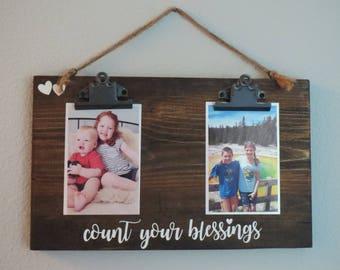 5 x 7 Photo Display - Kid Photo Display - Family Photo Display - Photo Display Board - Farmhouse Picture Frame