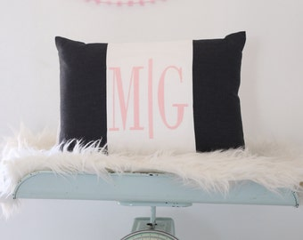 Monogram Pillow Cover, Black and White Pillow Cover,Home Decor, Childrens Room Decor, Embroidered Pillow Cover, Monogram Wedding Gift