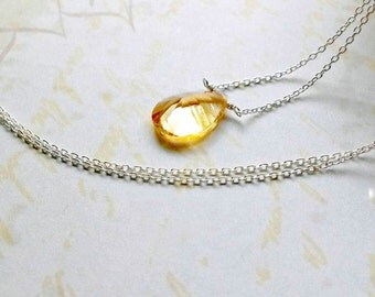 Sterling Silver Citrine Necklace Summer Gemstone Yellow Citrine Pendant Gifts for Her
