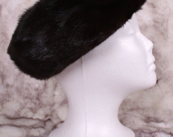 Vintage Dark Brown Mink Fur Hat Beret Retro Classic