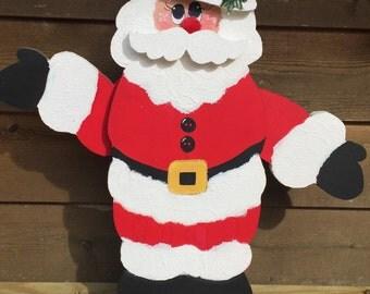 Wooden Waving Santa