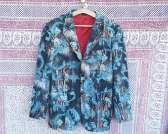 80s 90s jacket Mondo Jeans Vintage Party Casual print jacket Dandy Formal jacket Large