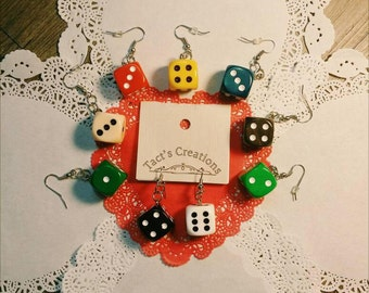 Dice Earrings from board games - 9 Different solid colors! For the Geeky, Nerdy, Gamer, or Board Game Geek in you!