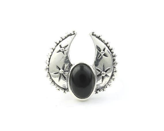 Desert Storm Ring, Sterling Silver Black Onyx Ring, Moon, Southwestern, Gemstone, Boho, Gypsy, Wiccan, Hippie, Spiritual, Luna, Moon Jewelry