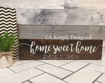 Home sweet home sign, Custom Home sweet Home sign, home wood sign, custom family sign, Housewarming Gift, Wedding gift
