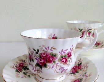 Royal Albert Lavender Rose Cup and Saucer Bone China Gentleman Size