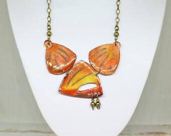 Polymer Clay Jewelry, Orange Polymer Clay Necklace, Organic Fimo Pendant