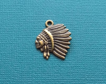 10 American Indian Head Charms Bronze Indian Chief Head Charm - CB2731