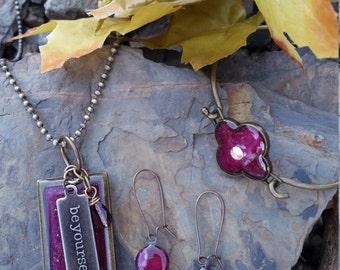 Amethyst Sparkle Jewelry Set / women's fashion / gift idea / one of a kind / February Birthstone
