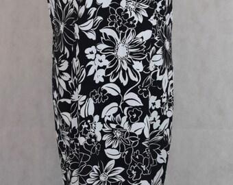 Black and White Flower Pattern Vintage Dress, Dresses for Women's, Women's Clothing, Dress, Vintage Clothing, Black and White, Kawaii