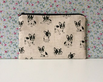 Frenchie Print Make Up Bag