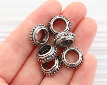 5pc antique silver large metal beads, large rondelle beads, large tribal beads, rustic beads, large hole beads, spacer beads, bead spacer