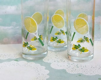 Vintage Tennis Tall Glasses - Set of 3 - Yellow and Green Colours - Perfect for Tennis Fans