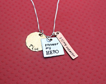 Veteran's Wife Necklace Hero Necklace Military Wife Necklace OIF Veteran OEF Combat Veteran Wife