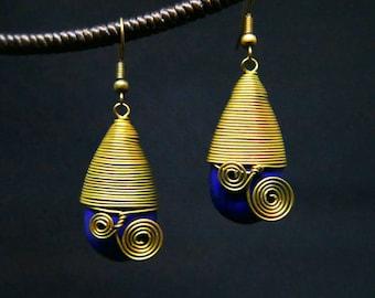 Navy Blue Turquoise Teardrop I Bronze Coil Wire Dangle Earrings Handmade Jewelry Brass Hook