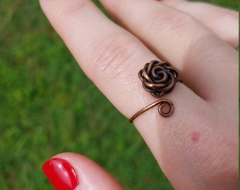 Wire wrapped copper rose adjustable ring