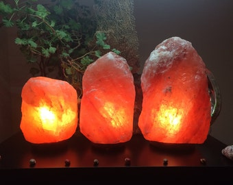 Himalayan Salt Lamps with Hand Polished Wood Base - Eco-Friendly Himalayan Pink Salt Rocks