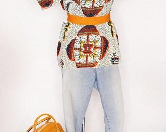 Handmade African Ankara Fabric Blouse, Cap Sleeves, Cotton, Wax Print, Dashiki, Ivory, Ethnic Print, Vacation Wear, Size Large to XL