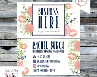 "Floral and Lips Business Card // 3.5""x2"" // Double Sided // Personalized Digital Files"