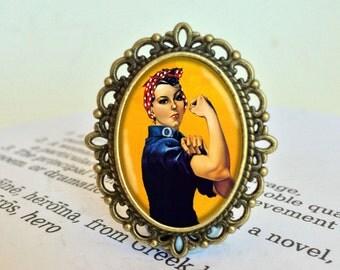 Rosie the Riveter Brooch - We Can Do It! Brooch, Heroine Brooch, Gift For Girlfriend, Rosie Brooch, Vintage Jewelry, Feminist Gift