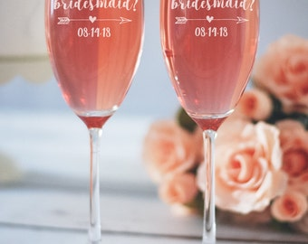 Bridesmaid Proposal Champagne Flutes, Will You Be My Bridesmaid, Champagne Glasses, Will You Be My Maid of Honor, Toasting Champagne Flutes