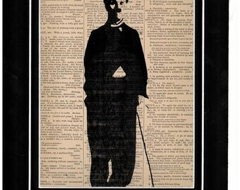 180 Art print of Charlie Chaplin on vintage dictionary paper art