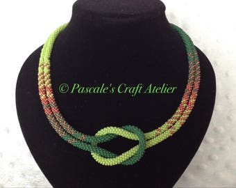 Green and Copper colour Kumihimo Love Knot Necklace