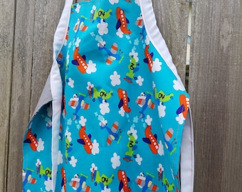 Boy's Airplane Apron,Toddler Apron,Kids Apron,Kids Arts and Crafts,Reversible Apron,Kids Gift Under 20,Airplane Fabric,Little Boy's Apron